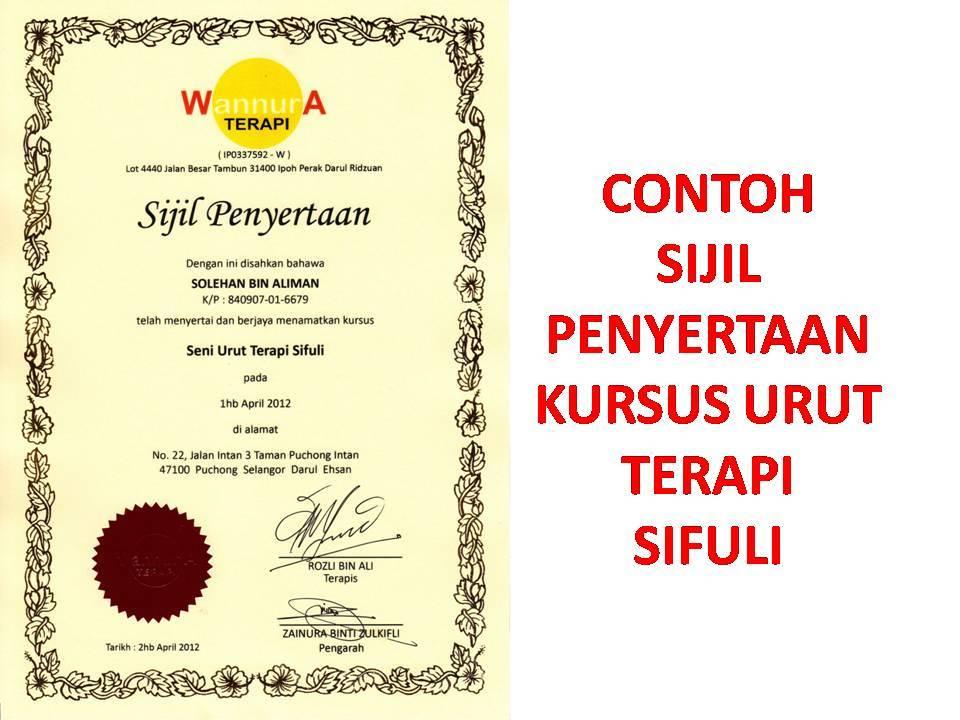 Ini adalah contoh sijil penyertaan kursus terapi sifuli anjuran