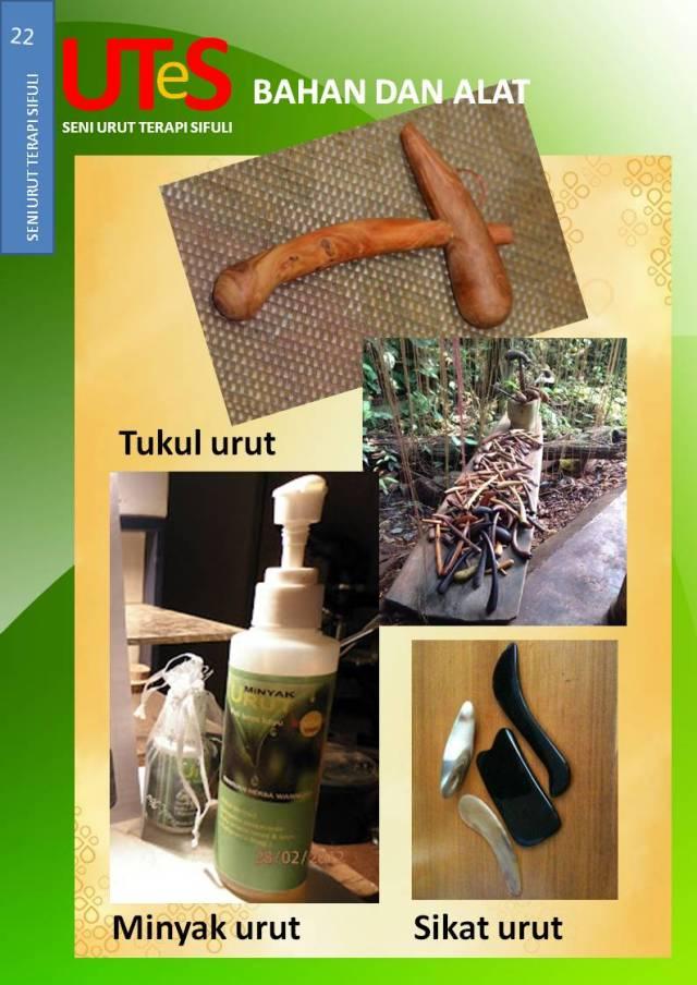 Bahan dan alat serta kesenian urut sifuli